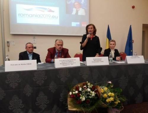 """Prima conferință economică pe 2019, organizată de vicepreședintele CNMR, europarlamentarul umanist Maria Grapini, la Timișoara: """"Să ne păstrăm rațiunea și să nu creștem orgoliul! Să ne unim!"""""""